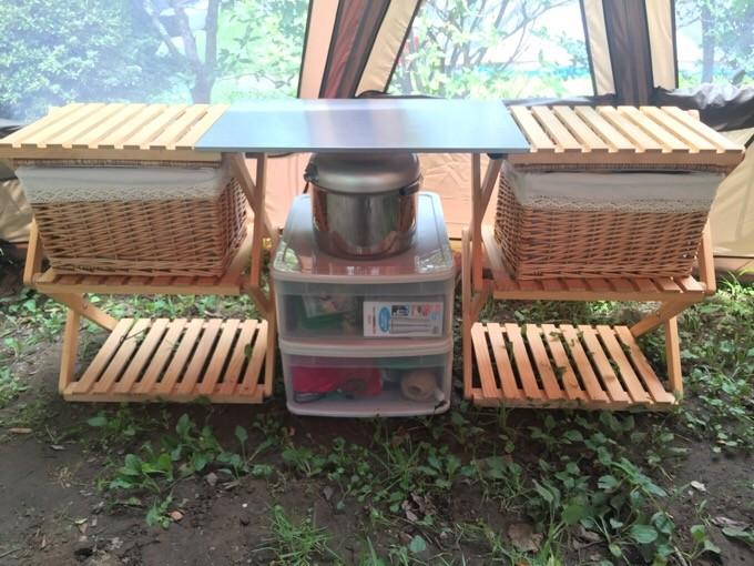 コーナンラックを連結しキッチンの完成