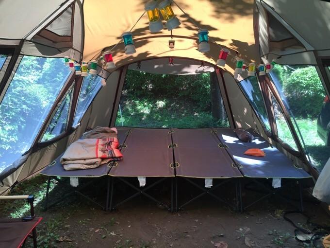 トルテュProにハイコットを4台並べて夏キャンプ