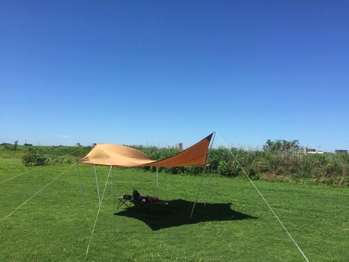 風が強いときのヘキサタープ