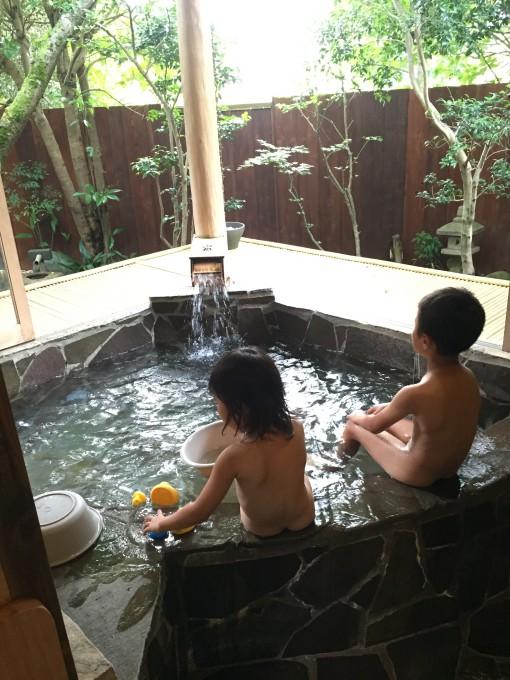 有野実苑の貸切露天風呂