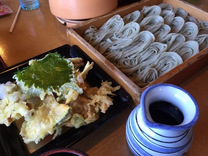 へぎそばと野菜天ぷら
