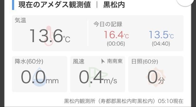北海道の朝は涼しい