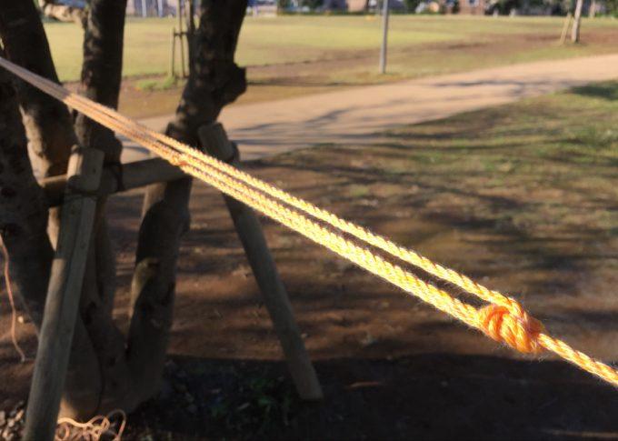 滑車の原理を活かしたロープの張り方