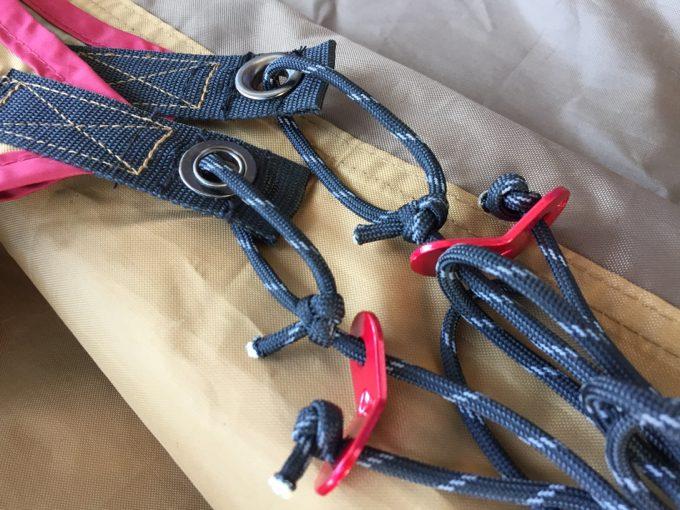 もやい結びでサブロープを取り付け