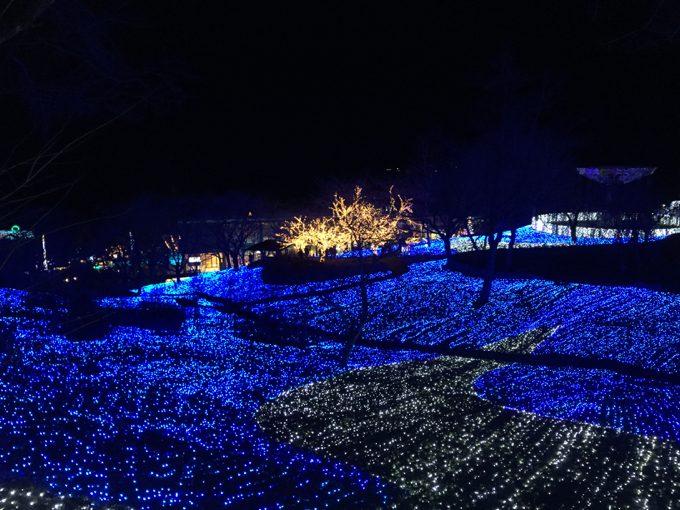相模湖イルミリオンの電飾が美しい