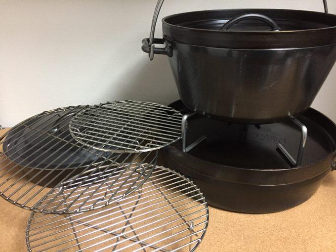 ダッチオーブンと底網ネットの組み合わせ