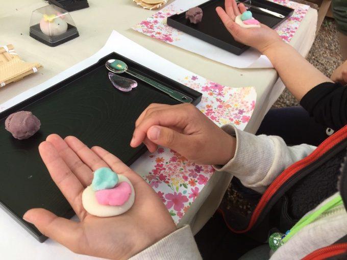 有野実苑で和菓子作り体験