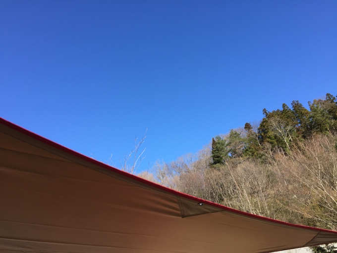撤収日の朝は澄んだ青空