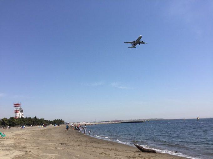 城南島海浜公園で飛行機を眺める