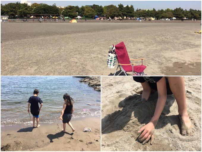 城南島海浜公園の砂浜で遊ぶ