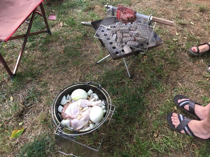 ローストチキンとローストビーフを同時に作る