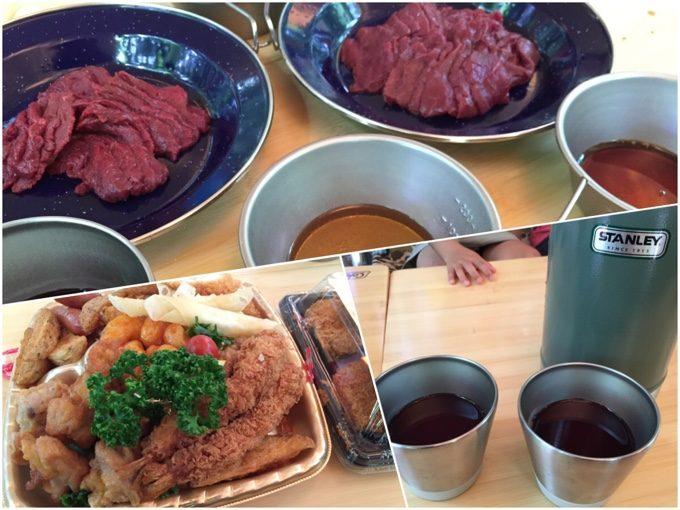 馬刺しと惣菜とサングリアでお昼ご飯