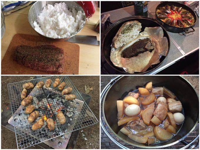 牛タンの塩釜にパエリア、肉巻きおにぎり、角煮など