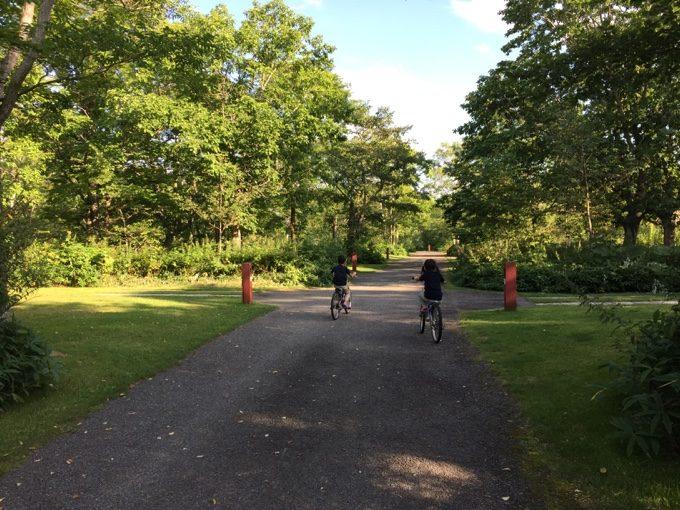 虹別オートキャンプ場でレンタル自転車に乗る
