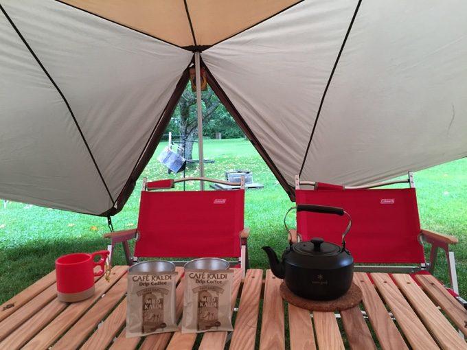 虹別オートキャンプ場で朝コーヒー