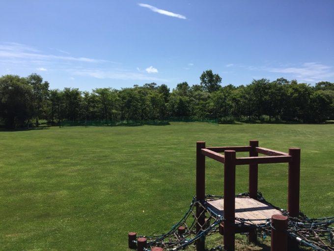虹別オートキャンプ場の広大な芝生広場