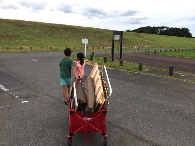 利根川ゆうゆう公園でアウトドアワゴンが大活躍