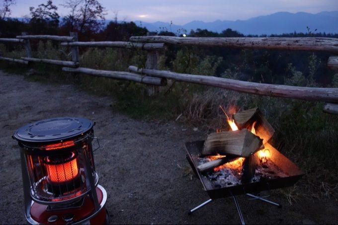 アルパカストーブと焚き火のコラボレーション