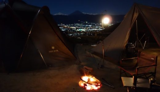 夜景に富士山!爽やかな秋晴れのほったらかし温泉で連泊キャンプ