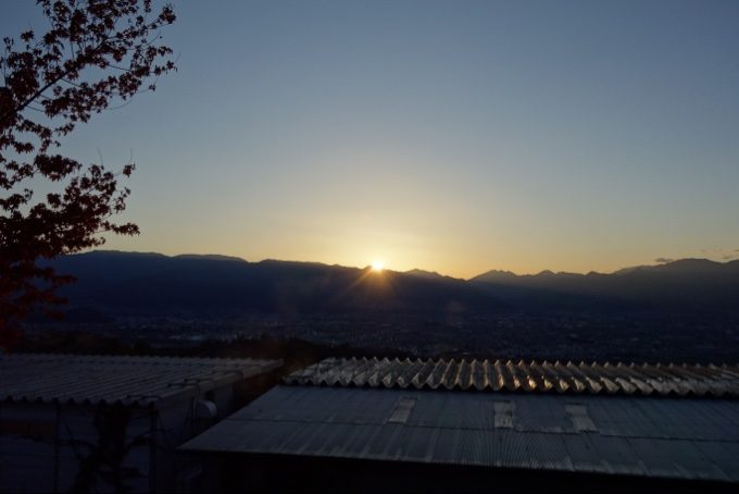 ほったらかし温泉から眺める日の出