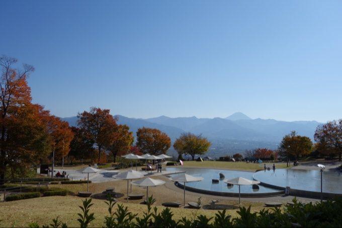 笛吹川フルーツ公園から眺める富士山