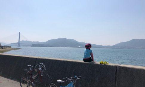 しまなみ海道の広島県側から多々羅大橋を眺める