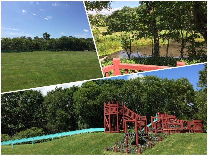虹別オートキャンプ場の芝生広場とダム湖