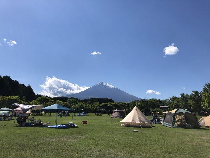 やまぼうしオートキャンプ場の端から眺める富士山