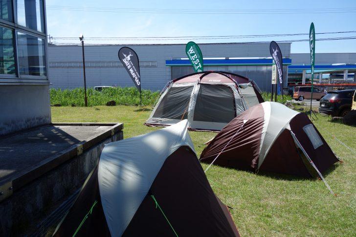 キャプテンスタッグのテントやタープを展示