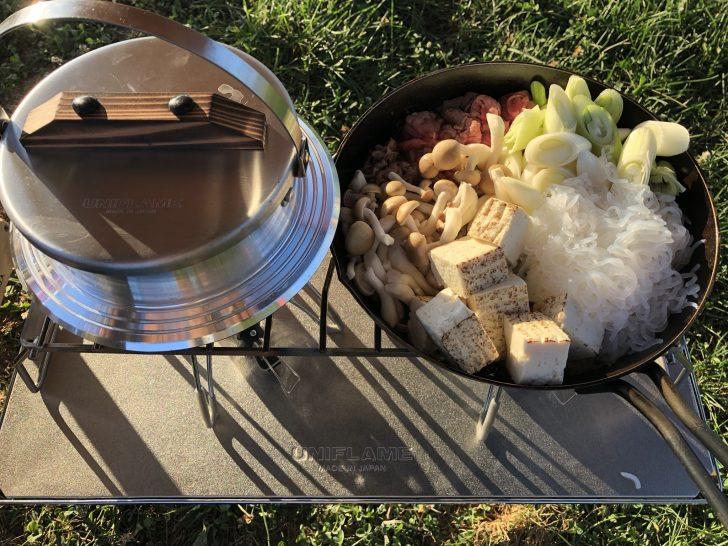 羽釜でご飯を炊きスキレットですき焼きを作る