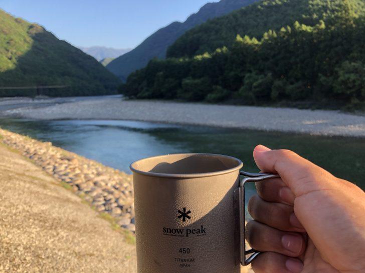 銚子川を眺めながら飲むアイスコーヒーは格別
