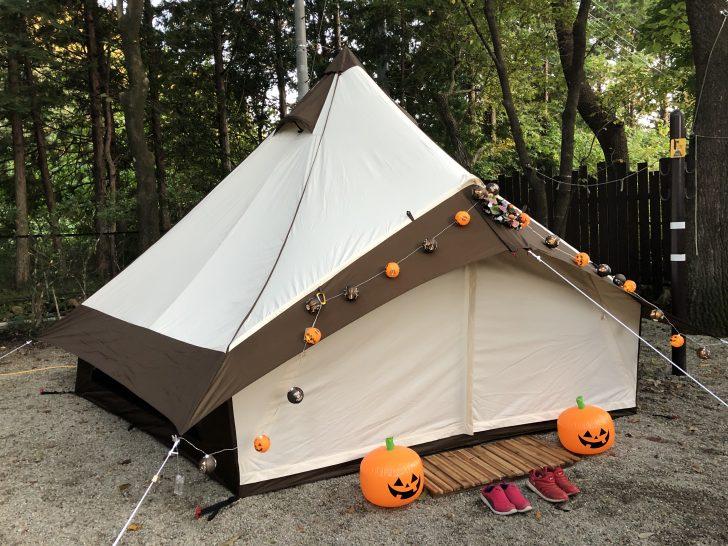 ハロウィンキャンプで控えめなデコを施したグロッケ