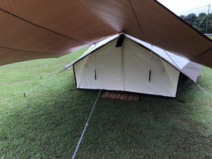 ベル型テントは真正面のロープが邪魔になりがち