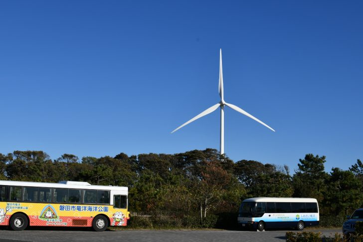 竜洋海洋公園オートキャンプ場から見える風力発電