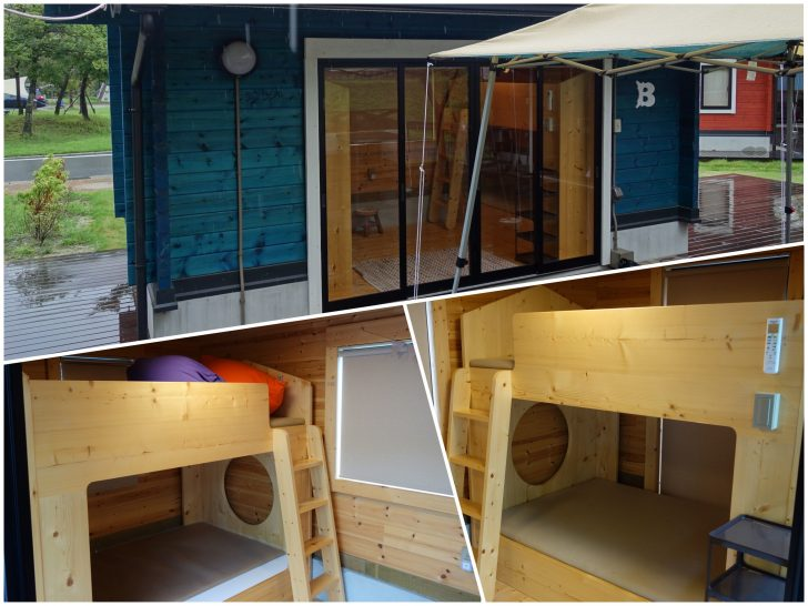 青川峡キャンピングパークのキャビングサイト遊の寝室側