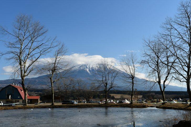 ふもとっぱらで逆さ富士を観たかったけど湖面が凍結中