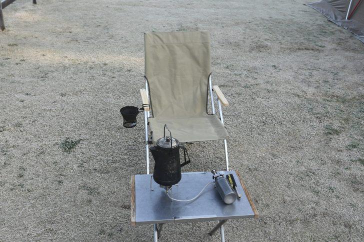 ローチェアと焚き火テーブルとMUKAストーブの組み合わせ