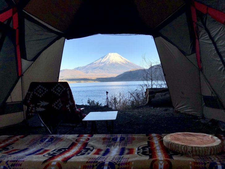 リビシェル内から眺める富士山と本栖湖