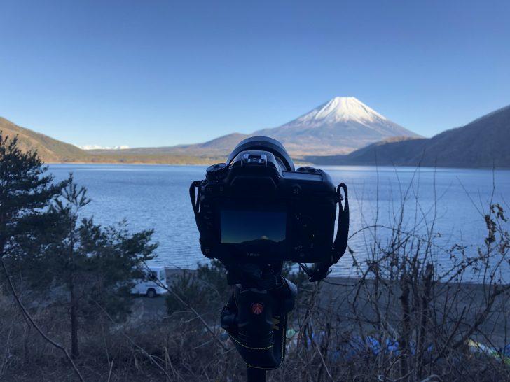 浩庵キャンプ場で富士山のタイムラプスを撮影中
