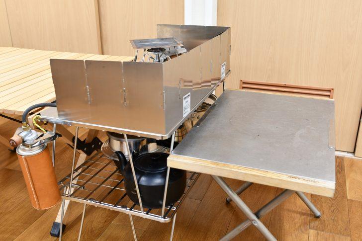 フィールドラック2段重ねと焚き火テーブルの高さの違い