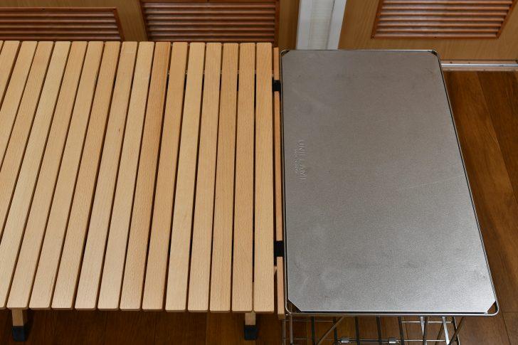 ロールトップテーブルとフィールドラックのサイズ感
