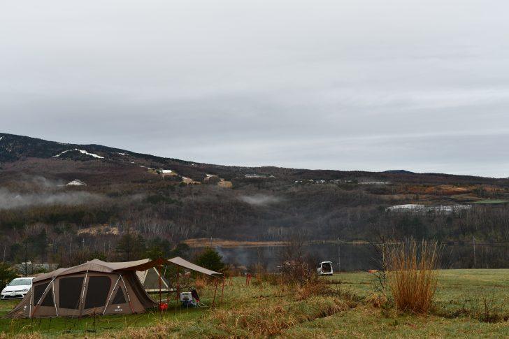 GW前半キャンプの撤収日は曇り空