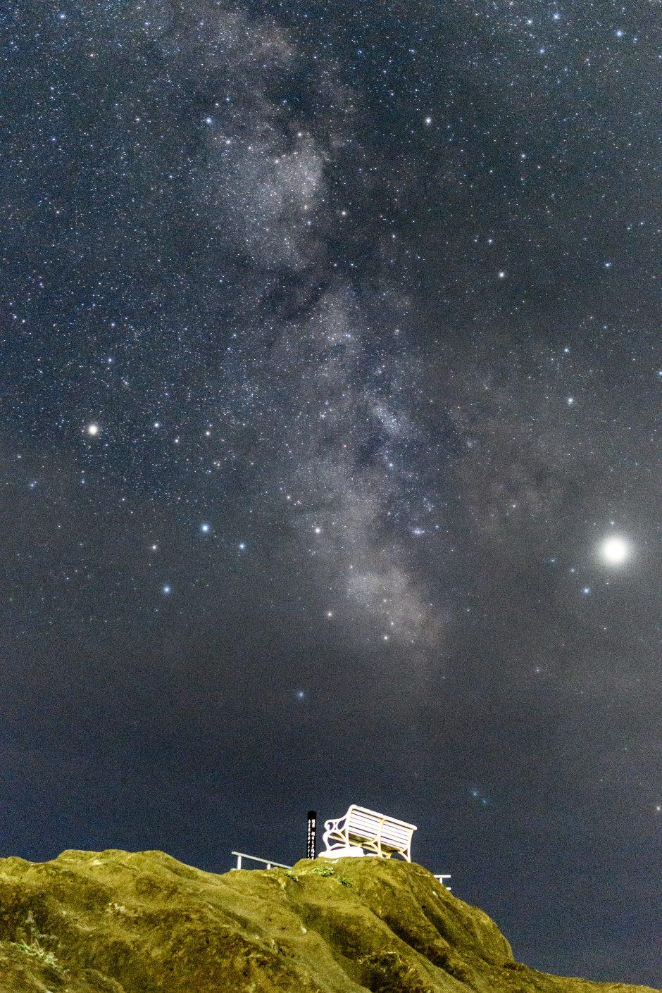 野島崎灯台で撮影したベンチと天の川