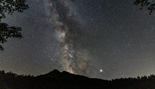 漆黒の闇と満天の星空に包まれた利尻島の姫沼で見る天の川と利尻富士