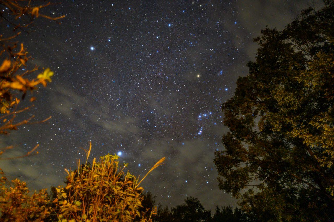 南アルプス三景園から見上げる冬の大三角