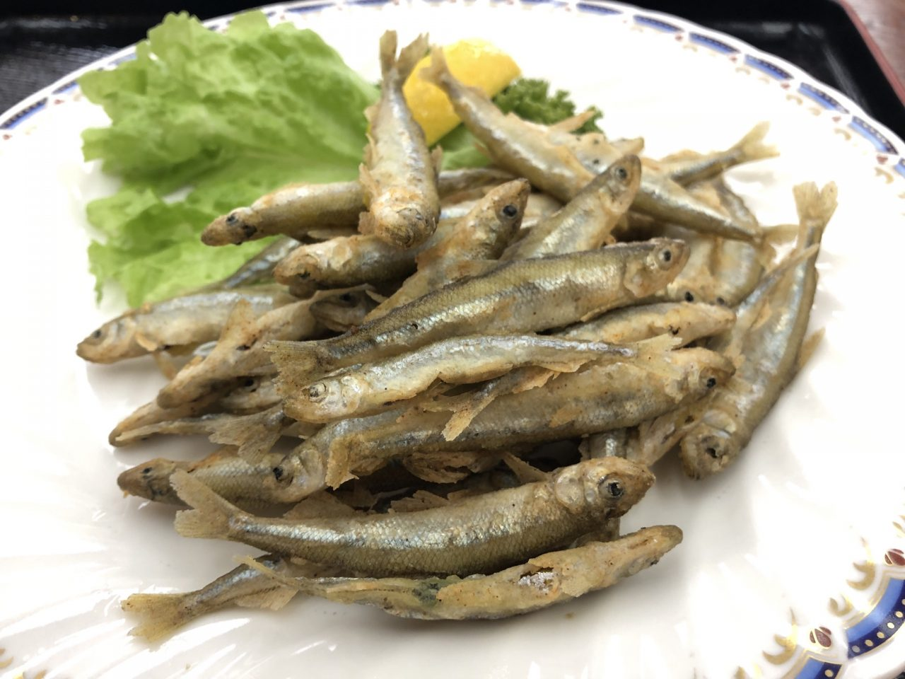 紅富士の湯で調理してもらったワカサギの天ぷら