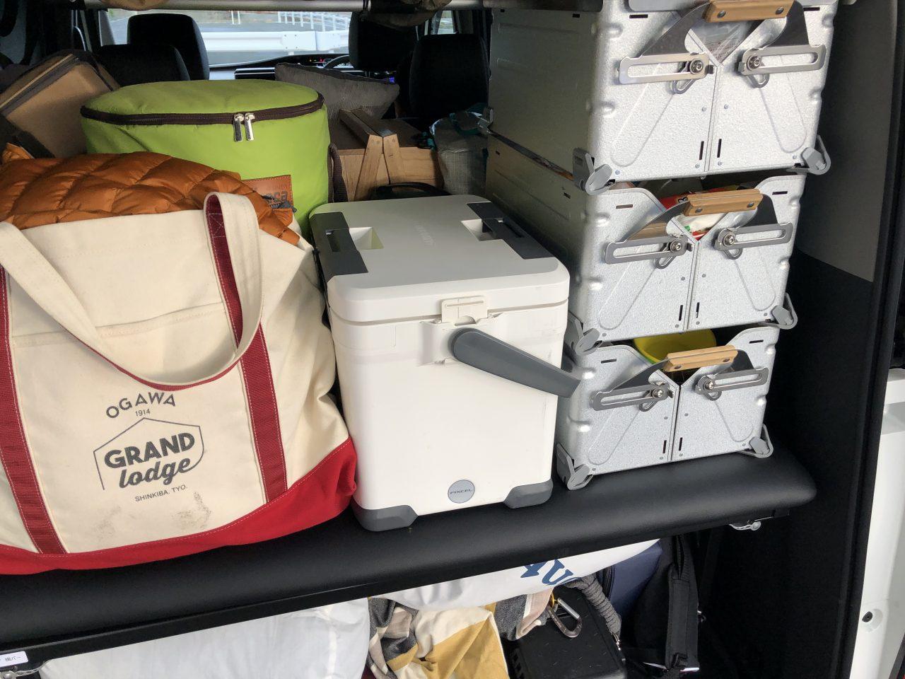 ステップワゴンにベッドキットを取り付けて荷物を積む