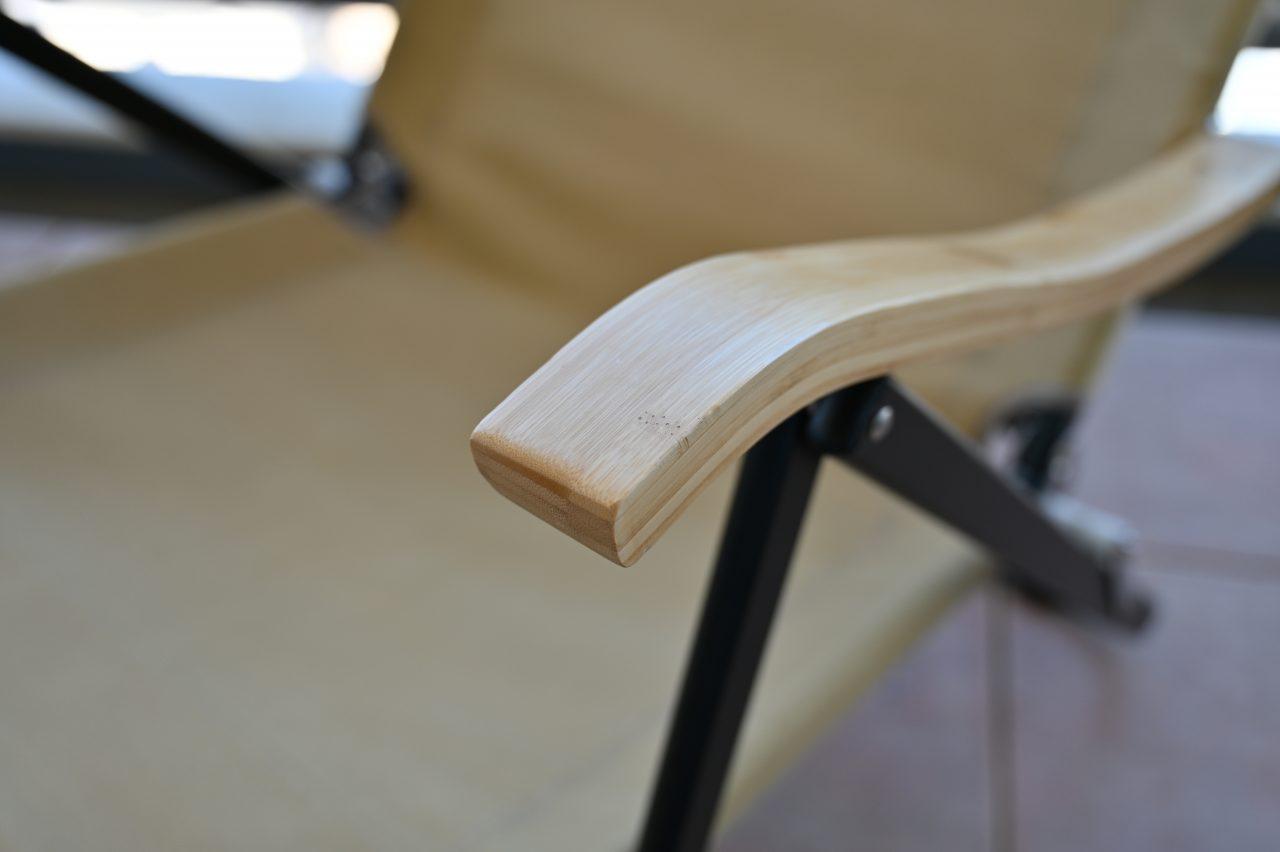 コンフォートローチェアのアームレストは竹集成材