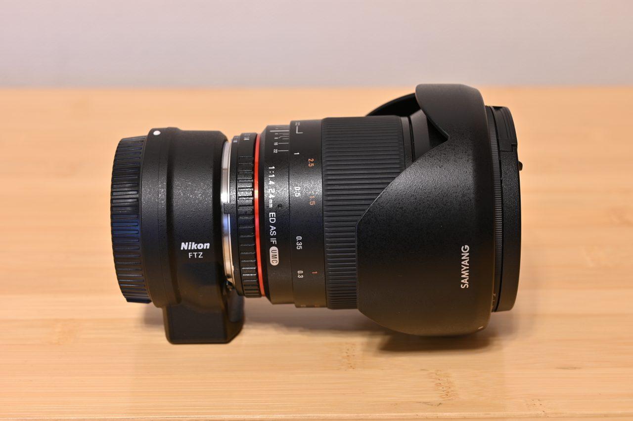 星空撮影用の広角単焦点レンズとマウントアダプター