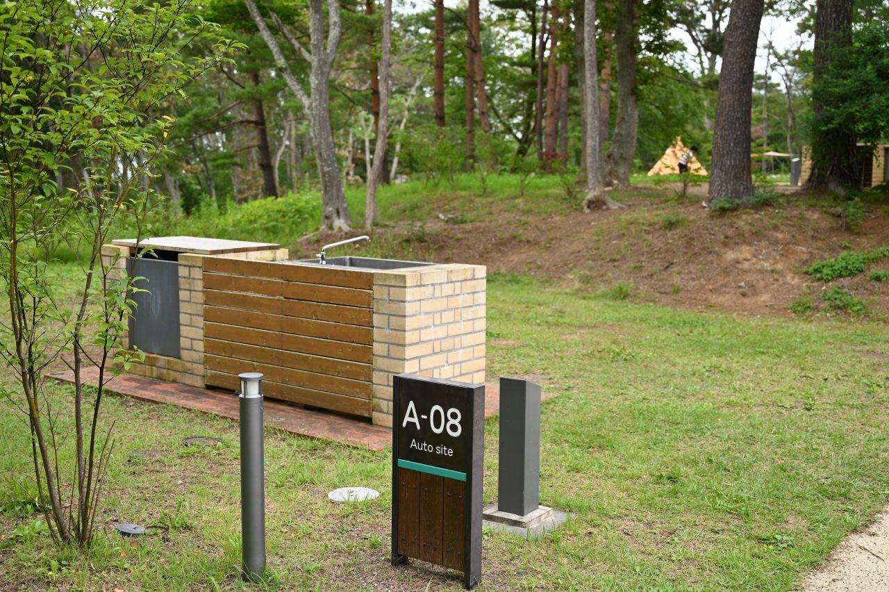 宮古姉ヶ崎オートキャンプ場の区画サイトは個別シンク付き